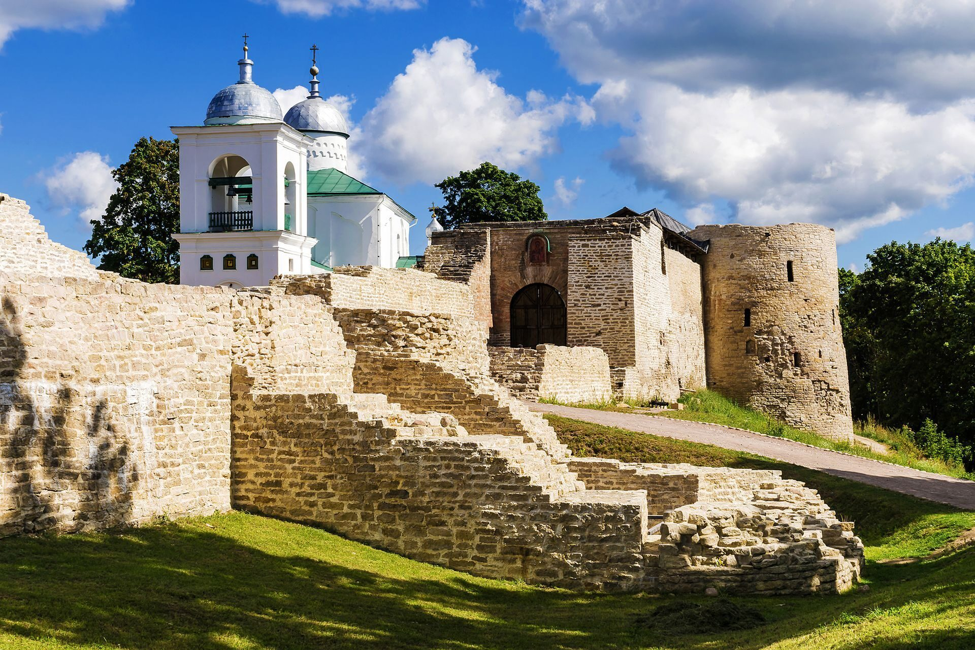 Old walls in Izborsk, Russia